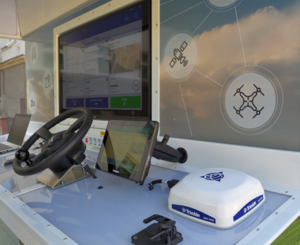 A display of a simulation display of precision farming. Author: LAAS